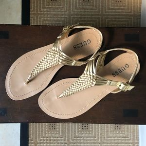Guess Gold Woven Sandals Size 7